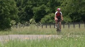 woman biking to raise awareness about human trafficking