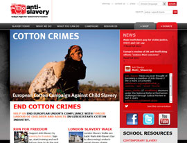 Anti-Slavery International website screenshot