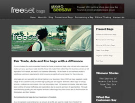 Freeset Bags website screenshot