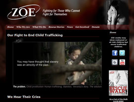 ZOE Children's Homes website screenshot
