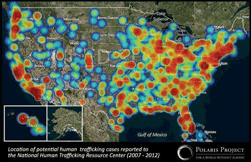 human trafficking trends map